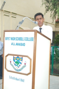 Saif Ahmad Khan delivers the Keynote Address during the 63rd Independence Day celebrations at Boys High School & College, Allahabad.